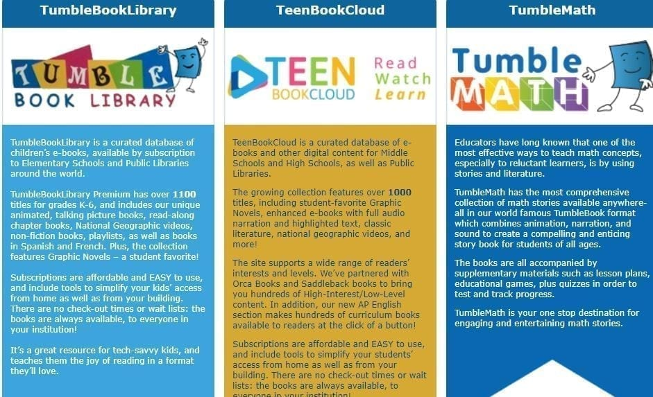 TumbleBook Library TeenBookCloud and TumbleMATH